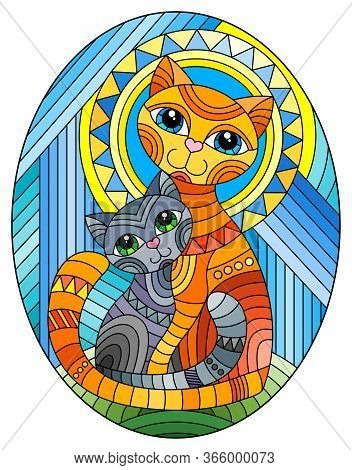 Illustration In Stained Glass Style With A Bright  Cat And Kitten On The Background Of An Abstract G