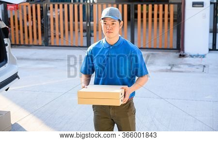 Food Delivery When Stay At Home. Lock Down And Self-quarantine At Home. Social Distancing And Stay H
