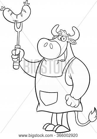 Black And White Bull Chef Cartoon Mascot Character Holding Sausage On Fork. Raster Illustration Isol