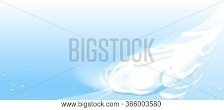 Snow Avalanche Slides Down From Mountain Slope, Natural Hazard Illustration Background On Blue Sky,