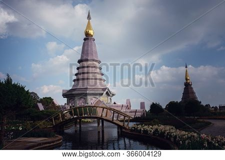 Landscape Of Pagoda At The Inthanon Mountain At Sunny Day