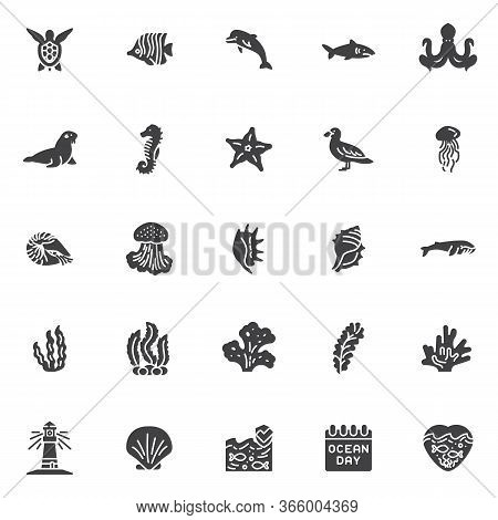 Marine Life Vector Icons Set, World Ocean Day Modern Solid Symbol Collection, Filled Style Pictogram