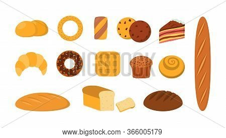 Baked Food Set. Fresh Bread And Toast, French Baguette, Croissant, Bagel, Toast, Bun, Cake Slice, Lo