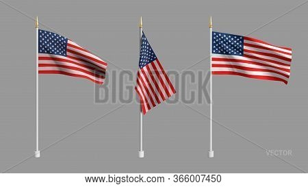 Realistic American Flag. Waving Flag Of The Usa. 3d Advertising Textile Vector Flags. Template For P