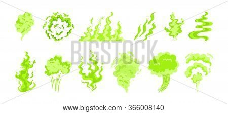 Green Toxic Smoke Set. Smelly Steam, Stinking Gas Cloud, Odour, Fart. Vector Illustration For Bad Sm
