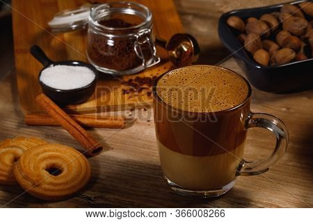 Dalgona Coffee - The Korean Coffee Drink On Wooden Background. Instant Coffee Or Espresso Powder Whi