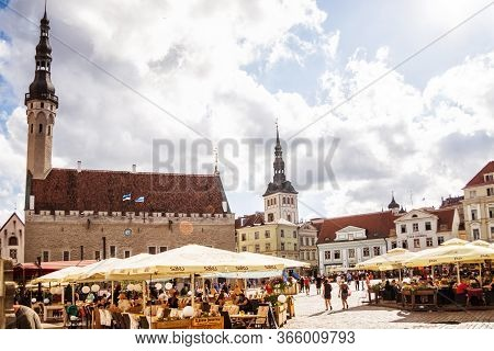 Tallinn, Estonia - August 4, 2018: Architecture On The City Hall Square In The Historical Centre Of