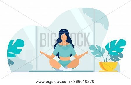 Woman In Comfortable Posture For Meditation Flat Vector Illustration. Female Character Doing Morning