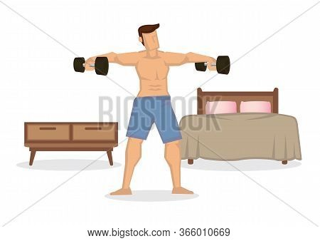 Strong Fit Man Exercises With Dumbbells At Home In His Spacious Apartment. Fitness Or Healthy Routin