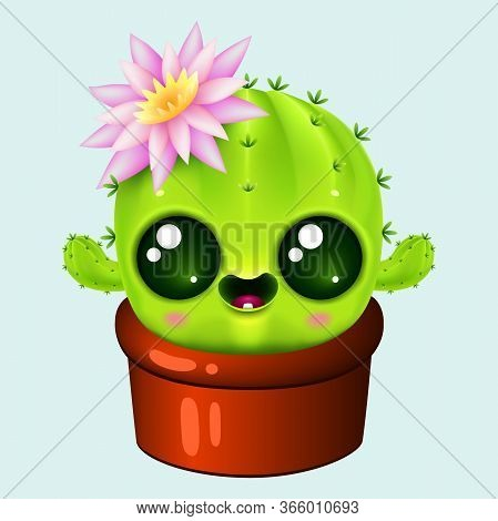 Funny Cartoon Little Cactus With Kawaii Faces And Pink Flower. Cute Plant In Pot On Blue Background