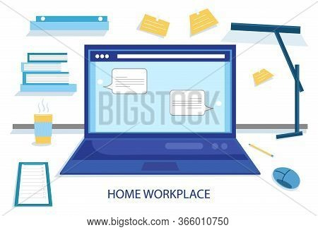 Home Workplace Flat Vector Design. Workspace For Freelancer And Home Work. Workplace, Laptop Screen,