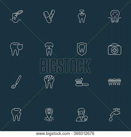 Tooth Icons Line Style Set With Dental Mirror, Pills, Dental Crown And Other Caries Elements. Isolat