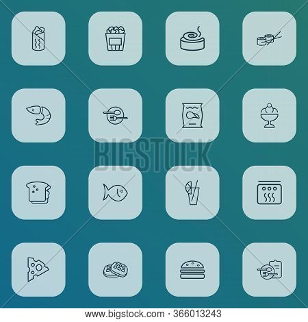 Food Icons Line Style Set With Burger, Cinnamon Roll, Shrimp And Other Sundae Elements. Isolated Vec