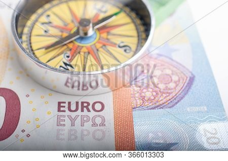 Euro Banknotes With Euro Compass Currency Finance Direction