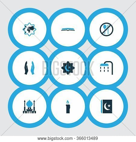 Holiday Icons Colored Set With Ghusl, Scripture, Dua And Other Koran Elements. Isolated Vector Illus