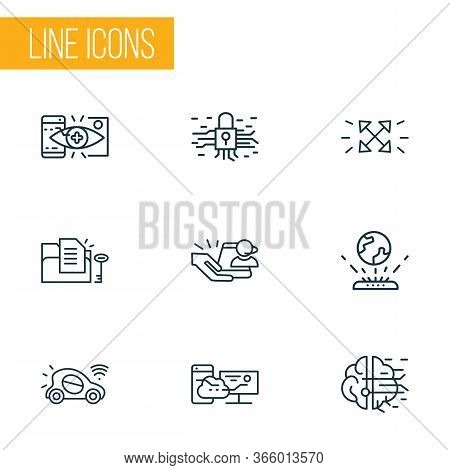 Information Technology Icons Line Style Set With Synching With Mobile, File Access, Augmented Realit