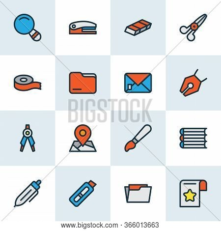 Stationary Icons Colored Line Set With Eraser, Vector Pencil, Stapler And Other Directory Elements.