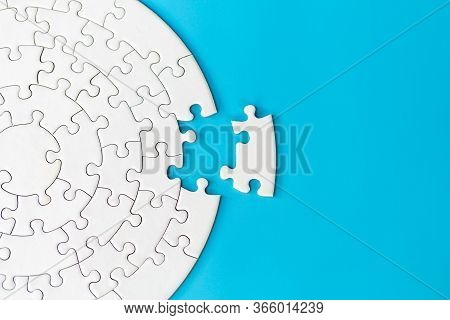 Jigsaw Puzzle With Missing Piece. Completing Final Task, Missing Jigsaw Puzzle Pieces And Business C