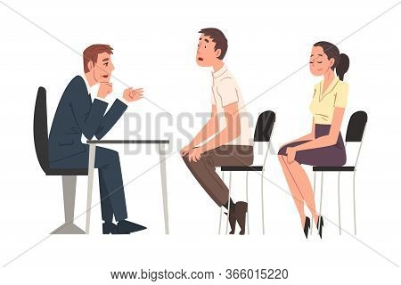 Hr Managers Interviewing Candidates, Young Man And Woman Having Job Interview At Headhunting Agency,