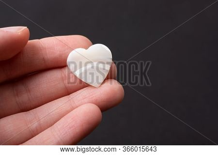 White Heart Icon On Black Color For Love Card And Valentine Day Concept