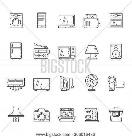 Line Household Appliances And Electronics Icons - Vector Icon Set