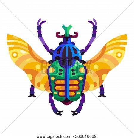 Colorful Goliath Beetle Icon In Flat Design