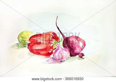 Watercolor Drawing Of Vegetables On White Background. Handmade Illustration Of Pepper, Garlic And Re