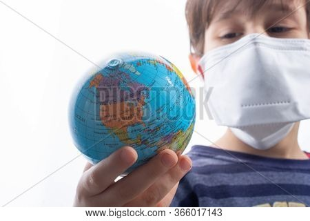 Kid Wear Health Masks To Prevent Virus And Germs. Disease  Protection