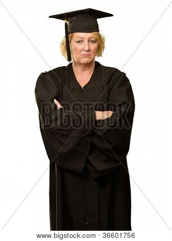 Portrait Of Graduate Woman Standing With Arms Crossed Isolated Over White Background