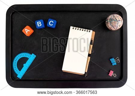 Back To School Background With Accessories For The Schoolroom - Pens, Notebooks, Books, Globe, Protr