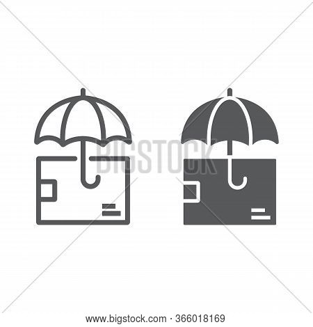 Delivery Insurance Line And Glyph Icon, Logistic And Delivery, Package Box With Umbrella Sign Vector