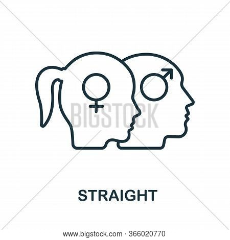Straight Icon From Lgbt Collection. Simple Line Straight Icon For Templates, Web Design And Infograp