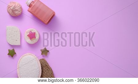 Spa Day Concept, Shower Accessories On Pink Background, Washcloth, Sponge, Gel, Bath Salt, Soap, Cop