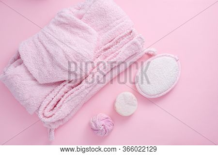 Trendy Bath And Spa Day, Pink Robe, Washcloth, Handmade Soap, Salt On Pink Background, Top View, Fla