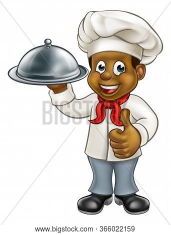 Cartoon Black Chef Or Baker Holding A Silver Cloche Food Meal Plate Platter And Giving Thumbs Up