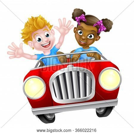 Two Cartoon Kids Having Fun Driving Fast In A Car On A Road Trip
