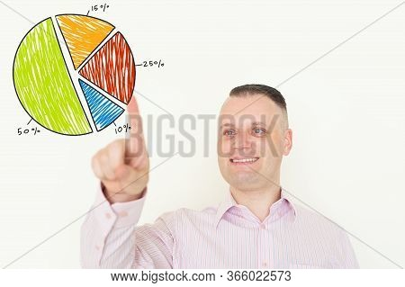 Portrait Of Happy Mid Adult Caucasian Businessman Wearing Striped Shirt Pointing At Virtual Colorful