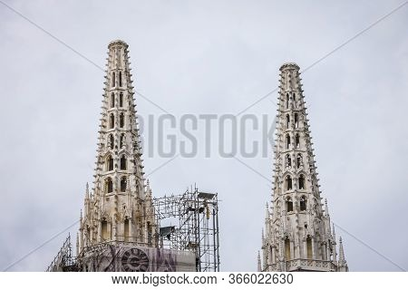 Zagreb, Croatia - 15 April, 2020 : The Zagreb Cathedral Without Both Crosses On The Top Of The Tower