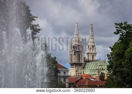 Zagreb, Croatia - 15 April, 2020 : Zagreb Cathedral Without Both Crosses On The Top Of The Towers Af