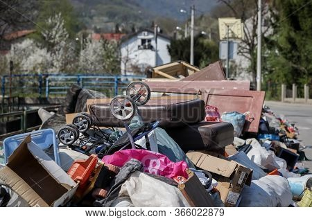 Zagreb, Croatia - 12 April, 2020 : Big Pile Of Bulky Waste And Garbage Next To The Mirosevecka Stree