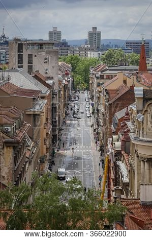 Zagreb, Croatia - 01 May, 2020 : Cityscape Of Zagreb Downtown Center With Old Residential Architectu