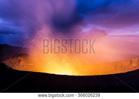 Eruption Of Volcano At Night. Crater Of Erupting Volcano Tolbachik, Kamchatka Peninsula, Russia