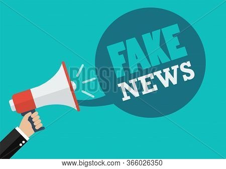 Male Hand Holding Megaphone With Fake News Speech. Vector Illustration