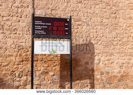 Marrakesh, Morocco - 12 October, 2019: Electronic Information Board On Wall Of Koutoubia Mosque In M