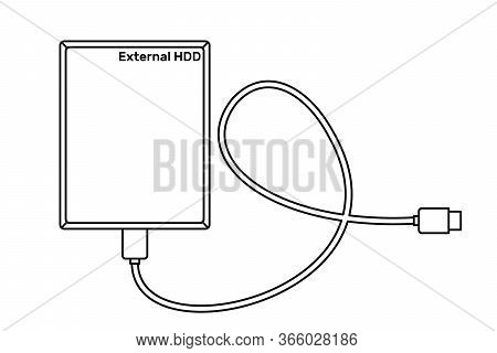 External Hard Drive Disk Icon In Line Art Style Isolated On White Background.