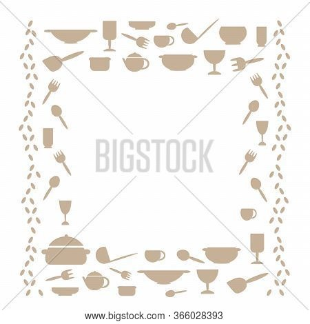 Kitchen Utensils, Frame With Space For Text . Kitchen Tools Symbols Cutlery Icons Kitchen Equipment