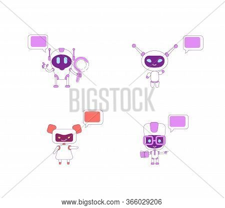 Humanoid Bots Flat Color Vector Characters Set. Boy Ai With Book And Magnifying Glass. Girl Bot Assi