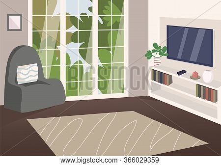 Spacious Living Room Flat Color Vector Illustration. Modern Apartment 2d Cartoon Interior With Plasm