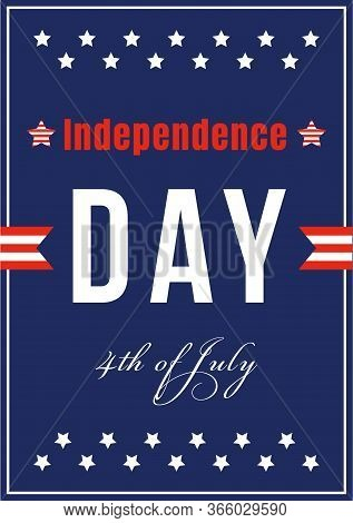 American Independence Celebration Poster Flat Vector Template. Us Freedom And Liberty. Brochure, Boo