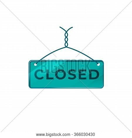 Closed Green Vector Board Sign Illustration